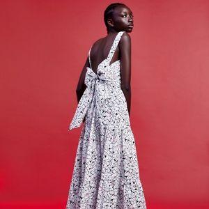 ZARA Printed Maxi Dress with Bow at Back